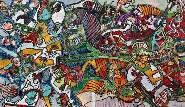 Tableau n°8123 - Artiste de Franck CAVADORE - Dimensions 198x114cm -