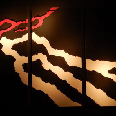 Ombre 1 (triptyque) - Relief Acrylique sur bois - Artiste Christiane GIRAUD - Hauteur 120 cm Largeur 60 cm X 3 panneaux