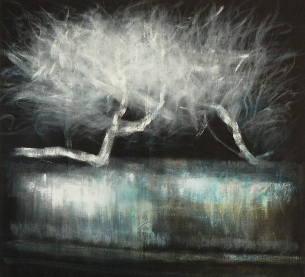 des histoires de niaoulis 2 - Artiste Nadine ARRIETA - Huile et acrylique sur lin noir libre - 161cm x 150cm - 2500 euros