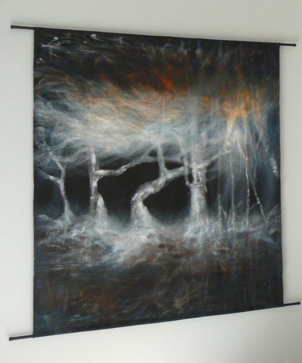 des-histoires-de-niaoulis-1--in-situ---Artiste-Nadine-ARRIETA---Huile-et-acrylique-sur-lin-noir-libre---166cm-x-150cm---2500-euros
